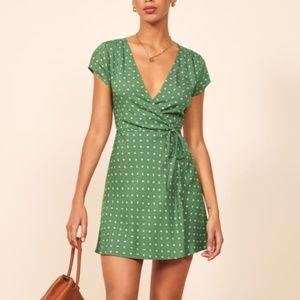 NWT Reformation Green Ports Wrap Dress XS